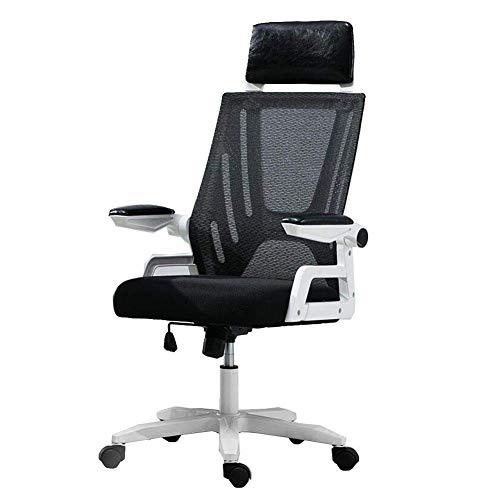 JIEER-C stoel voor de tijd Libero, ergonomische bureaustoel, van netstof, met armleuningen en hoofdsteun, inklapbaar, in hoogte verstelbaar 34-44 cm Zwart