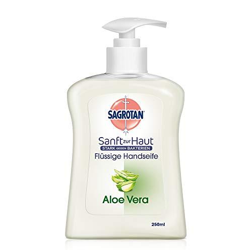Sagrotan Handseife mit frischem Duft nach Aloe Vera – Antibakterielle Flüssigseife – 1 x 250 ml Seifenspender