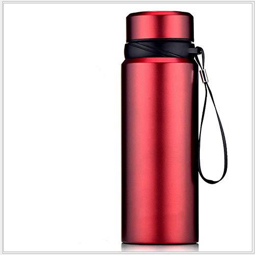 Jusemao Botella termo de vacío de acero inoxidable con cuerda portátil botella de deportes al aire libre 750ml adecuado para aventuras al aire libre u oficina-rojo_750ml