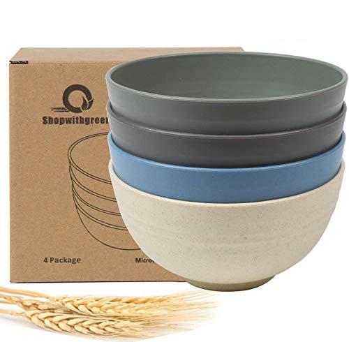 shopwithgreen Unbreakable Cereal Bowls - 24 Unzen Weizenstrohfaser Leichte Bowl-Sets 4 - Spülmaschinen- und Mikrowellensicher - Premium-Qualität