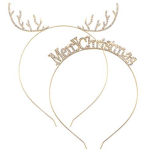 Christmas Headbands Set Cute Reindeer Antler Hairbands Sparkly Crystal Merry Christmas Hair Hoop Metal Headpiece Hair Accessories for Women Cosplay Costume Party (Gold)