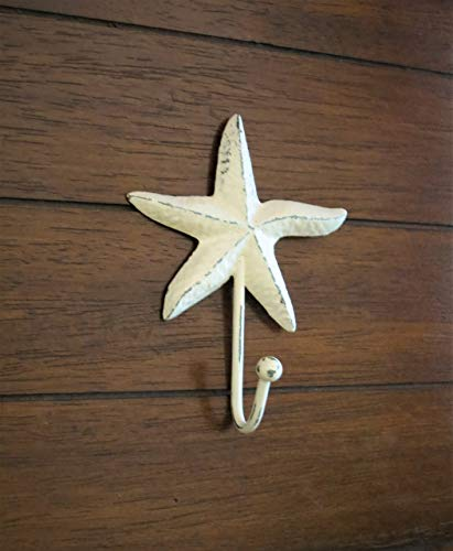 Starfish Wall Hook Metal Wall Hanger Towel Hook Creamy White or Pick Color