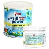 for you Power Eiweiß Vanille + natural Basenpulver im Set I 1x 750g Fitness Eiweisspulver mit...