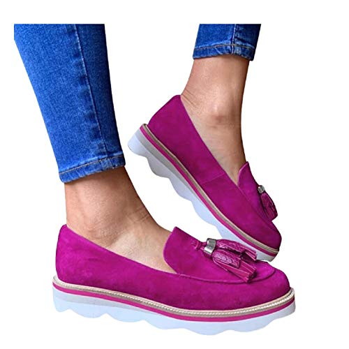 Lowest Price! Tsmile Women's Summer Suede Leather Flats Casual Walking Shoes Ladies Round Toe Tassel...