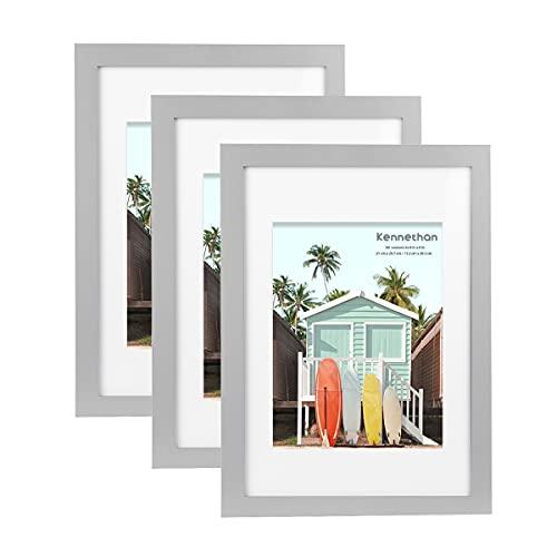 Kennethan 100% Echtholz Bilderrahmen Grau A4 3er Set -mit Passepartout 15x20cm, Fotorahmen mit Acrylglas zum aufhängen und aufstellen