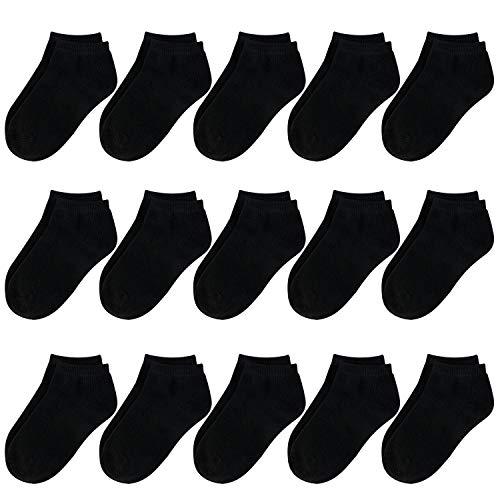 BOOPH 15Pcs Kids Socks for Boys Girls Low Cut Athletic Ankle Socks 1-2T Black