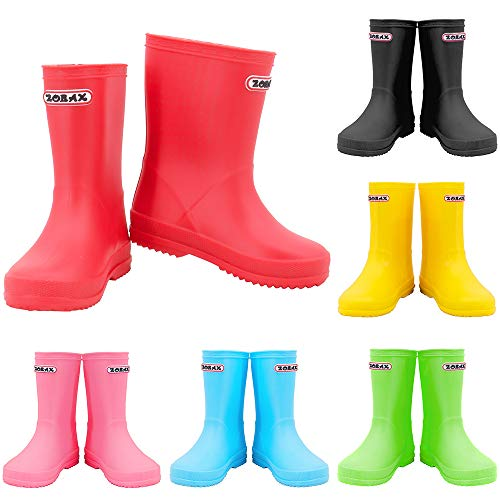 Zorax - UK11 Kids - EU29 - Red Girls Boys Waterproof Non-Slip Kids Motorbike Rain Boots Kids Rain Shoes Wellies Unisex Children Wellington Boots