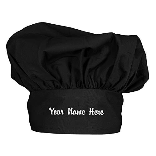 주방장 맞춤형 주방장 모자 맞춤 포플린 플로피 주방장 모자 블랙 셰프 모자 유니섹스 남성 또는 여성