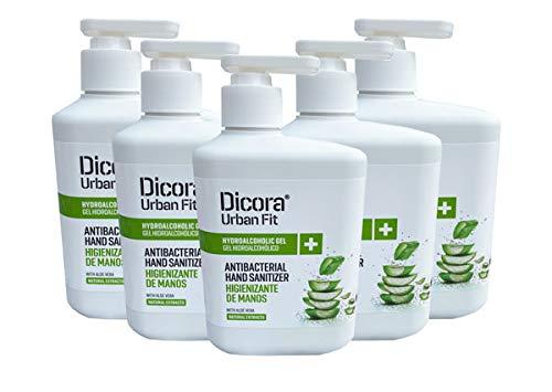 Dicora Urban Fit Gel hidroalcohólico para desinfectar las manos. Caja de 5 botes de 500 ml aroma Aloe Vera