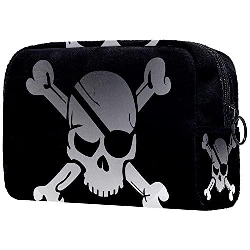 Neceser de viaje, bolsa de viaje impermeable, bolsa de aseo para mujeres y niñas, diseño de calavera, 18,5 x 7,5 x 13 cm