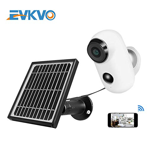 EVKVO WIFI Battery IP Camera CCTV with Solar Panel Outdoor Weatherproof 1080P HD Wireless PIR Alarm Motion Camera With Battery 1080-(32GB)