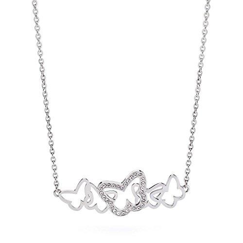 Brosway Girocollo Donna in Acciaio Bianco con Cristallo Bianco, Linea Flow, Cm 50, 10 Grammi