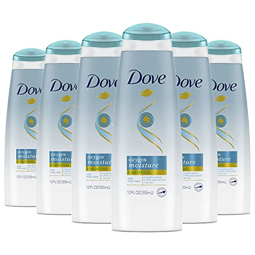 Dove Shampoo for Fine Hair Oxygen Moisture weightless hair care system for 95% more volume in flat hair 12 oz, Pack of 6