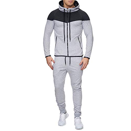 JX-PEP Conjunto de chándal para hombre al aire libre con capucha, pantalones deportivos, sudadera con capucha, pantalones deportivos, color gris 1, L