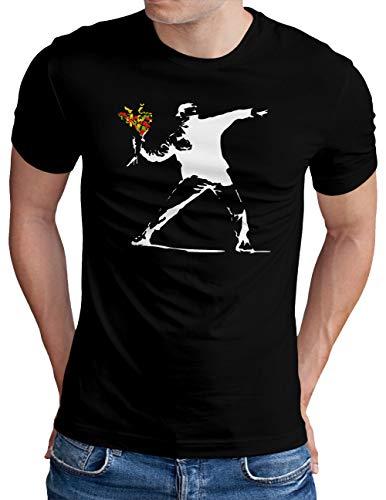 OM3® Banksy Flower Thrower T-Shirt | Herren | Urban Street Art Peace Graffiti Punk Indie Sozial Kritik Swag | Schwarz, L