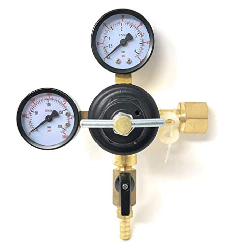 MOD Complete MDC99006 CO2 Beer Regulator Pressure Kegerator Heavy Duty Features T-Style Adjusting Handle - 0 to 60 PSI-0-3000 Tank Pressure CGA-320 Inlet w/ 3/8' O.D. Safety Discharge 50-55 PSI