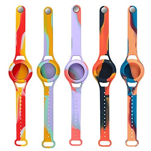 EXEDSCEND para Apple Airtags Niños Pulseras Soft Silicone Correa Anti-Scratch Cover Accesorios para Etiquetas de Air AIRTAG Reloj Correa Pulsera Anti-Perdida Ligera Bandas para Niños
