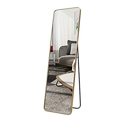 """ABZQH Full Length Floor Mirror, 65""""x21.7"""" Gold Body Mirror Large Free-Standing Aluminum Alloy Frame Decorative Mirror for Bathroom Bedroom Dressing Home Decor"""