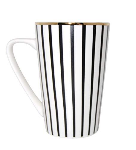 Jumbotasse Becher XXL Sprüchetasse 400 ml aus Porzellan Trinkbecher Smoothie Becher Geschenk Büro Tasse für Kaffee Teetasse Cappuccino Kaffeebecher Jumbo-Tasse Riesentasse (Stripes Black Gold 400)