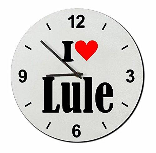 Druckerlebnis24 Exclusivo: Vidrio de Reloj I Love Lule una Gran Idea para un Regalo para su Pareja, colegas y Muchos más! - Reloj, Regaluhr, Regalo, Amo, Made in Germany.
