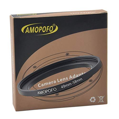 Anillo adaptador de filtro de metal de 49 mm a 58 mm, anillo adaptador de filtro Step Up de 49 mm a 58 mm para objetivo de cámara con rosca de filtro de 49 mm a anillo de filtro de 58 mm.