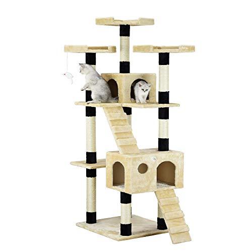 Go Pet Club 72' Cat Tree Condo Furniture - Beige/Black