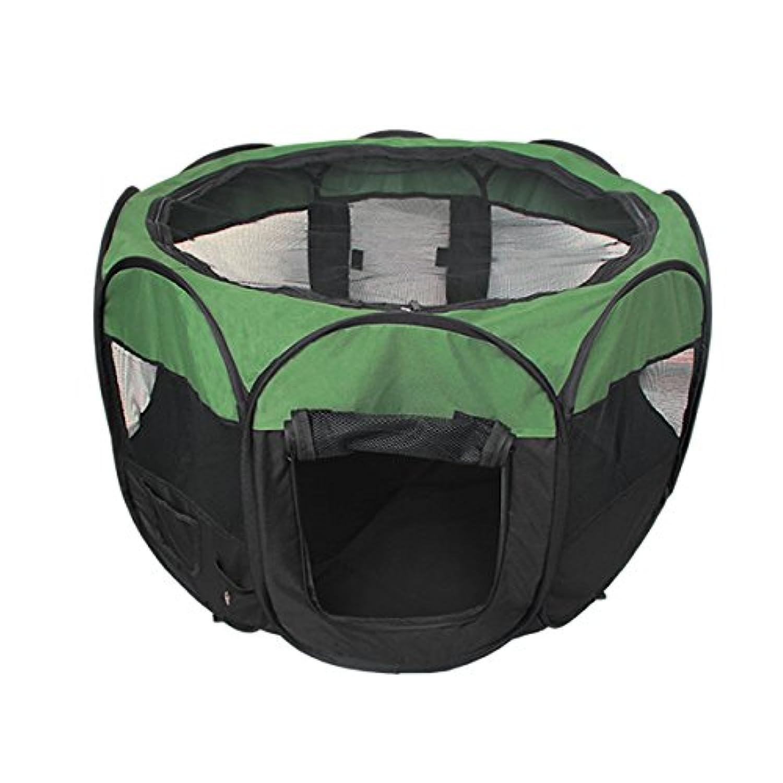 ペットケージ ペットサークル Lサイズ 直径約114cm 折りたたみ メッシュサークル グリーン(緑)