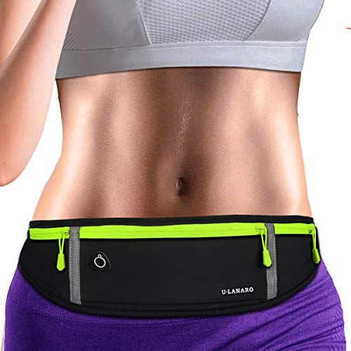 Running Belt Fanny Pack,Workout Gym Waist Pouch Bag,Bounce Free Runners Jogging Pocket Belt for iPhoneXS Max,XR,iPhone 11 8 7 Plus,Cycling,Exercise,Hiking,Sports (Black)