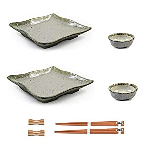 Japanese Sushi Plate Set with Sauce Dishes & Chopsticks in Beige Glazed Ceramic