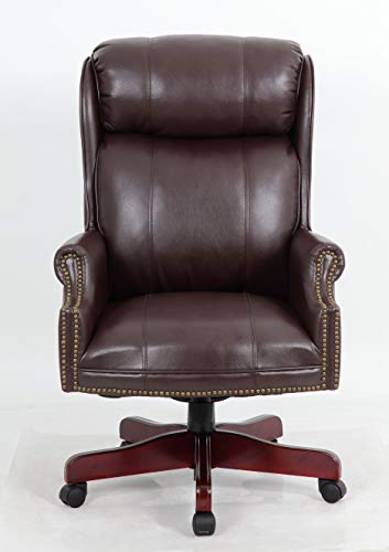Halter PU Leather Executive Office Chair Plush Padded Seating with Real Wood Legs, Brass Nail Head Trim, Pneumatic Gas Lift, Classic Button Tufted Style for Home or Business (Brown)