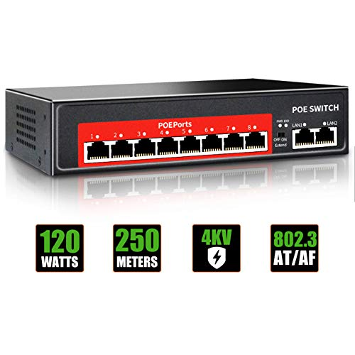 PoE Switch (8 POE Ports +2 Uplink),802.3af/at PoE+ 100Mbps, 120W Built-in Power, Extend to 250Meter,Unmanaged Metal Plug and Play