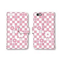 【ノーブランド品】 iphone5c スマホケース 手帳型 デイジー チェック柄 花 ピンク ホワイト かわいい おしゃれ 携帯カバー アイフォン5c ケース