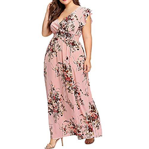 VEMOW Plus Size Elegante Damen Frauen Casual Kurzarm Kalt Schulter Boho Blumendruck Casual Täglichen Party Strand Langes Kleid Schulterfrei Strandkleid(X6-Rot, 52 DE / 4XL CN)