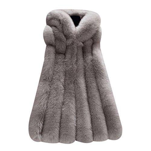 mioim Damen Faux Pelz Weste Ärmellose Lange Jacke Vest Kunstpelz mit Kapuzen Winter Herbst Pelzmantel Fellweste Mäntel Dunkelgrau L