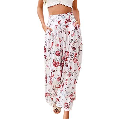 BUKINIE Pantalon Femme Fluide Grande Taille Femmes Taille Haute Impression Bohême Taille élastique Pantalon décontracté Pantalon Large Legging été Hiver Yoga Sport (Blanc,X-Large