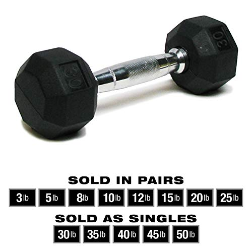 SPRI Dumbbells Deluxe Rubber Coated Hand Weights All-Purpose Color Coded Dumbbell for Strength Training (Set of 2) (12-Pound)
