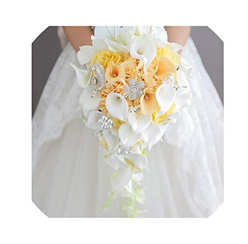 LiGHT-S Blaue Blume Calla-Lilien-Hochzeit Blumenstrauß Wasserfall Romantische Designer Künstliche Blumen-Brautblumenstrauß, mit gelbem