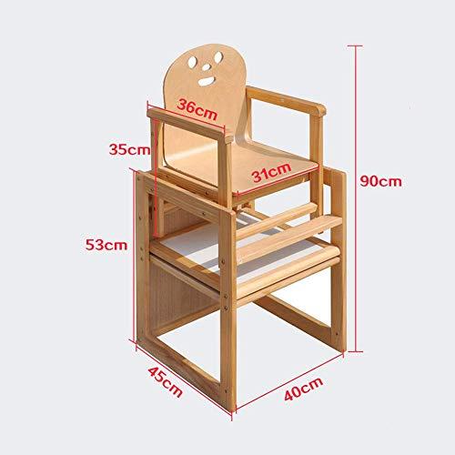 YLCJ kinderstoelen eettafelstoelen van hout, verstelbaar, multifunctioneel, verstelbaar van massief hout (kleur: hout, grootte: groot) Large Houtkleur.