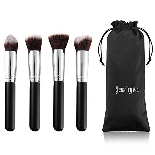 JewelryWe 4PCS Professionnel Pinceaux-Brosse de Maquillage Brush Cosmétique Beauté & Make-up Argent Noir Ombre à Paupière
