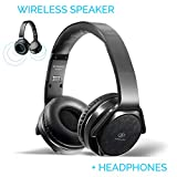Bluetooth Headphones Over-Ear 2 in 1 Cordless Foldable Twist-Out Speaker Wireless Stereo Bass Headphone with NFC FM Radio/AUX/TF Card Slot Sports Retractable Headband Headset (Black)
