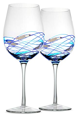 """Bezrat Wine Glasses Set of 2, Hand Painted Wine Glasses, Drinkware Essentials, 11"""" H, 28oz Wine Lover Large Wine Glass, Glassware Gifts Ideas for Women Inspired by The 'Duomo di Milano' (Blue)"""