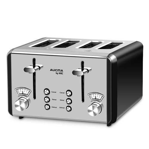 MIC Compact Toaster 4 Slice Wide Slots 6 Browning Settings Polished Stainless Steel Housing 1850 W, Cancel/Reheat/Defrost, Removable Crumb Tray, High-Lift, Black
