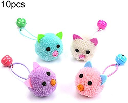 10 Stück/Packung Katzenminzenspielzeug Künstliche pelzige Katzenmaus Spielzeug Hüpfball mit Glocke Rassel Plüsch Katzenspielzeug Maus Geeignet für Katzenübungen Interaktives Spiel