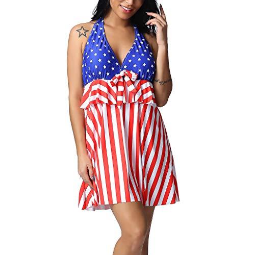 Deelin damesbadpak, Amerikaanse vlag, bedrukt, zonder rug, push-up, gevoerd, tankini, schuin, badpak, eendelig