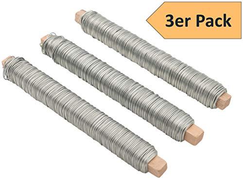 3er SET Wickeldraht Bindedraht rostfrei verzinkt Farbe silber, Stärke 65mm je 100g auf Holzstab gewickelt perfekt für Handwerk als Basteldraht Dekodraht