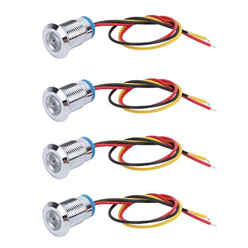 Mothinessto 4 Juegos de lámpara indicadora de Panel LED, lámpara de luz de Tablero piloto con Cable IP66 Indicador de señal de Metal a Prueba de Agua Indicador de 2(Red and Yellow)