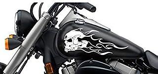 SUPERSTICKI Totenkopf Flamme Tribal ca 30cm Motorrad Aufkleber Bike Auto Racing Tuning aus Hochleistungsfolie Aufkleber Autoaufkleber Tuningaufkleber Hochleistungsfolie für alle glatten FL