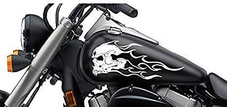 Supersticki Totenkopf Flamme Tribal Ca 30cm Motorrad Aufkleber Bike Auto Racing Tuning Aus Hochleistungsfolie Aufkleber Autoaufkleber Tuningaufkleber Hochleistungsfolie Für Alle Glatten Fl Auto