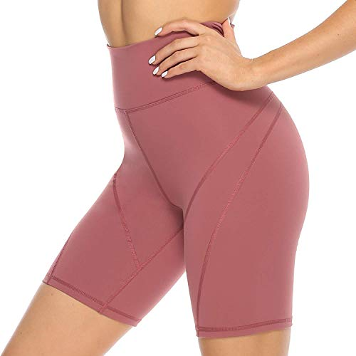 JOYSPELS Kurze Sporthose Radlerhose Yogahose Damen, High Waist Kurz Leggins Damen für Yoga Sport Gym Bike Sweat, Rot, S