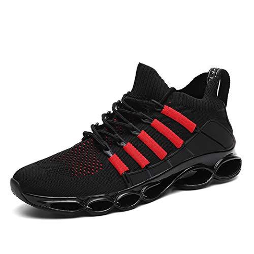 LangfengEU Hommes Chaussures de Course léger Respirant Plate-Forme Formateurs antidérapant en Plein air Sport Appartements décontracté Course randonnée Maille Baskets